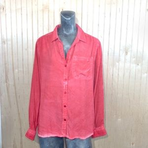 Velvet Heart Medium Blouse Button Down Washed Red